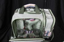 Picnic Time Wine Cooler: Malibu Insulated Bag Basket Tote Green with Accessories