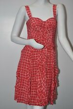 $1990 New Oscar de la Renta Ruffled Silk Flamingo RED Gingham Corset Sun Dress 8
