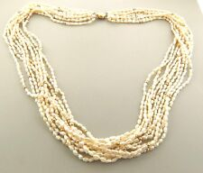 Vintage 14k Gold Fresh Water Biwa Pearl Necklace 10 Strands .75 x 25""