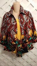 MISHCA FLORAL ARTSY ANIMAL PRINT FRONT TIE BLOUSE/ JACKET 3/4 SLEEVES SZ LG