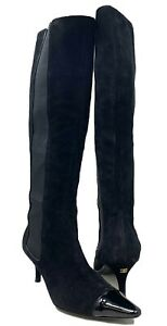 Authentic CHANEL Coco Mark Side Gore Long Boots Heels #36.5 US 6 Suede Rank AB