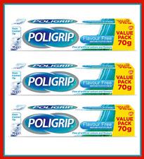 3x Poligrip Essential Denture Flavour Free Secure Hold Fixative Cream 70g