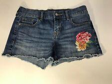 OLD NAVY Boyfriend Size 4 Raw Hem Jeans Shorts Embroidered Roses Denim