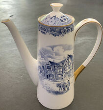 Tuscan Made In England Fine Bone China White Blue Chequers Inn