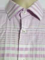 Bugatchi Uomo Long Sleeve Button Front Shirt Pink White Stripe Mens Large
