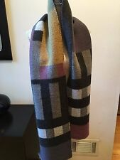 NEW BURBERRY BLANKET HALF MEGA CHECK WOOL CASHMERE WRAP SHAWL SCARF MULTI COLOR