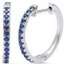 Blue Sapphire .925 Sterling Silver Hoop Earring