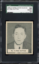 1937 V356 World Wide Gum #14 Red Dutton (HOF, NY Americans) SGC 92 NM-MT+
