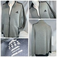 Adidas Zip Track Jacket XL Men Gray Poly Cotton Full Zip 3 Stripes YGI L9-480