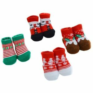 Babys 1st Christmas Xmas Novelty Socks Bootees Booties Red Infant Baby 0 6 Mths