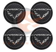 2014-2018 C7 Corvette Genuine GM Carbon Logo Center Caps Set 19302357