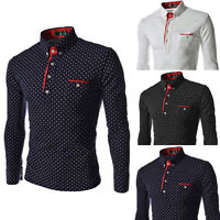Slim Fit Stylish Dress Shirts Fashion Mens Luxury Long Sleeve Shirt Casual Top<>