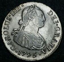 1795 I.Jperú ☆Spanish Colony☆ CharlesIv☆ Milled Bust ☆2 Reale ☆Lima Silver Coin