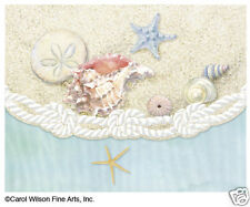 Carol Wilson 10 Blank Note Card Lace Borders Stationery Sea Shells Sea Shore New