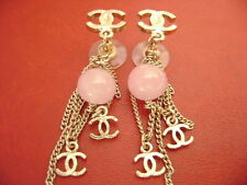 AUTH Chanel CC Logo W/ 2cc charms pink stone dangle Pierced drop Earrings