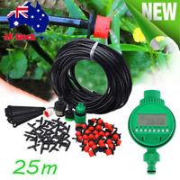 DIY Micro Drip Irrigation System Auto Timer Plant Self Watering Garden Hose 25m