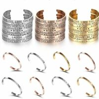 Stainless Steel Rose Gold Silver Letter Cuff Bangle Bracelet Jewelry Family Gift