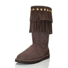 UGG JIMMY CHOO Suede Sheepskin SORA Fringed Studded Tall Boots Amputee Left Sz7
