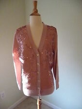 NWT J.CREW SEQUIN CARDIGAN SWEATER, SIZE M, E4862, VINTAGE PINK, $198