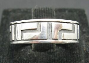 Genuine Plain Sterling Silver Ring Hallmarked Solid Band 925 Meander Handmade