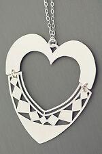 Kette und Anhänger Silber 925 großes Herz beweglich - Silberkette - Silberherz