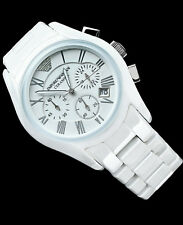 NWT $ 545 EMPORIO ARMANI MEN'S CHRONOGRAPH WHITE CERAMIC WATCH AR1403