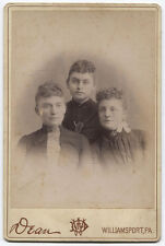 CABINET CARD STOP THIS HAIR STYLE! THREE CURLY TOP VICTIMS. WILLIAMSPORT, PA.