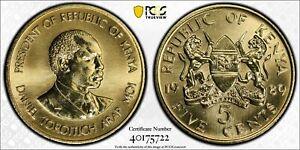 1989 Kenya 5 Cent PCGS SP68 - Kings Norton Mint Proof