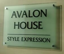 Glass Effect Frosted Business Office Home Sign 40x30cm With 4 Metal Fixings