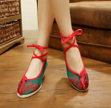 Women' Shoes Heels Wedges Embroidery Lace-up Green/Red Floral Canvas Size 38