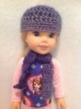 "Wellie Wishers Blue wool hat/beanie scarf American Girl 14"" doll clothes outfit"