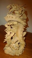 """Bali wood carving TWO DRAGONS fighting--30cm (12"""") height Very detailed"""