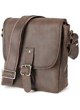 Shvigel Men's Leather Shoulder Bag - Small Satchel Messenger Bag - Vertical