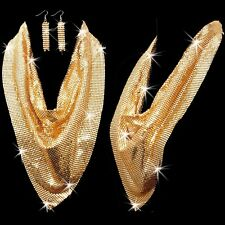 Huge Gold GP Liquid Mesh Collar Scarf Statement Tennis Drop Necklace Earring Set
