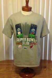 SuperBowl XLIII NFL Team T Shirt Pittsburgh Steelers Arizona Cardinals Gray Lg