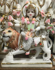 """12"""" Marble White Hand Painted Goddess Durga Maa Religious Sculpture Gifts E1448"""