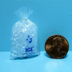 Dollhouse Miniature Replica Bag of Ice with Individual Cubes G120