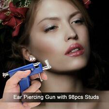 Professional Steel Ear Piercing Gun 98pcs Stud Tool Kit Nose Navel Body Piercing