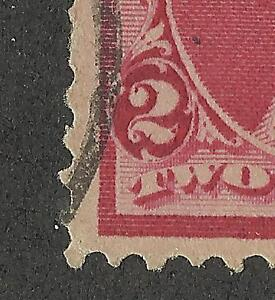 US 220 @ (1890) Used, XF- EFO: Double; Partial Imperf/Red Dot