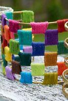 World Finds Cuff Bracelet HAND MADE Threaded Spectrum Boho Brass  UNIQUE Chic
