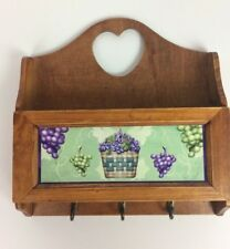 Wood Mail Letter Key Holder Heart Cut Out with Hooks Grapes Wall Hanging
