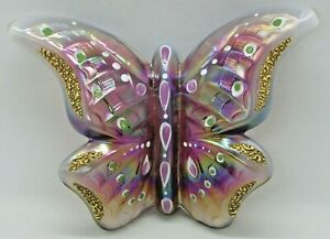 FENTON Art Glass Iridescent Opalescent Hand Painted BUTTERFLY w/ Stand, Signed