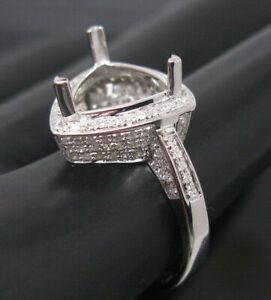 Vintage Trillion Cut 9x9 14K White Gold Genuine Diamond Engagement Ring Setting