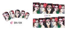 NAIL Art Adesivi Decalcomanie acqua trasferimento adesivi Halloween Teschio Gotico (BN184)