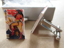 Classic Wonderwoman Comic Book Cover Cufflinks - Wedding, DC Comics Cuff Links