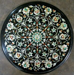 15 Inches Marble Bed Side Table Inlay Mother of Pearl Coffee Table Elegant Look