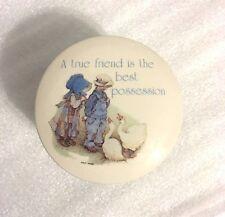 1978 Holly Hobbie Hobby Blue Girl Stoneware Trinket Box A True Friend Vintage