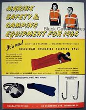 Orig 1964 Guarantee Fit Marine Safety & Camping Equipment Sales Brochure Canada