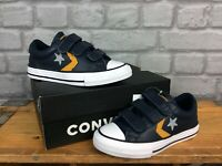 CONVERSE BOYS UK 11 EU 28.5 ALL STAR PLAYER NAVY LEATHER TRAINERS CHILDRENS AD
