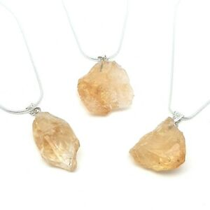 925 Sterling Silver Chain Necklace With Irregular Shape Natural Citrine Pendant